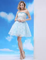 light skyblue short homecoming dress with lace overlay milanoo com
