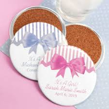 coaster favors personalized two sided baby shower coasters baby shower favors