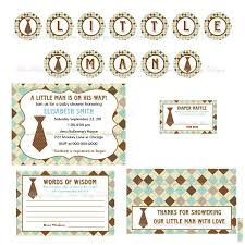 printable little man necktie baby shower party kit banner