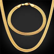 gold chain necklace men images Men jewelry sets classical foxtail bracelets 18k gold rose gold jpg