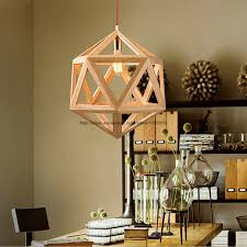Cage Pendant Light Aliexpress Com Buy Modern Hexahedral Diamond Wood Cage Pendant
