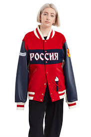 Red And White Flag With A Cross Opening Ceremony Russia Varsity Jacket The Russia Jacket Is