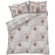 catherine lansfield heritage stag cotton rich duvet cover set