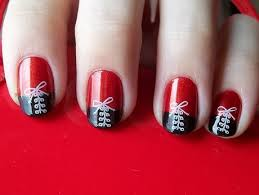 nail art red black white