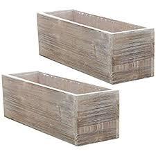amazon com wooden planter box rustic barn wood plastic liner