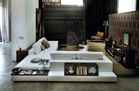 modular sofa with shelf and drawers open glass plat arketipo