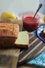 classic lemon pound cake with raspberry sauce