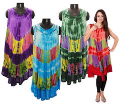 hippy dress bohemian tie dye hippy sun dress loose fit mid length