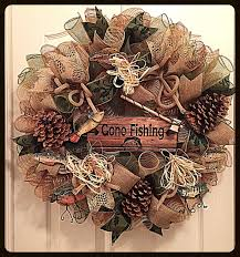 fishing deco mesh wreath fishing wreath fall wreath autumn