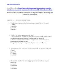 test bank for introduction to general organic and biochemistry 9th