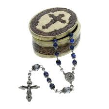 sacred heart rosary blue sacred heart of jesus rosary with box the catholic company