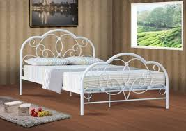 Metal Bed Frame Casters Hton Vintage White Size Metal Bed Frame Within Iron