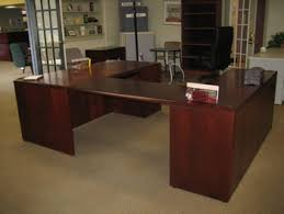 U Shape Desk Refurbished National Wood U Shape Desk Broadway Office