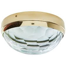 brass flush mount light multifaceted glass and brass flush mount ceiling light for sale at
