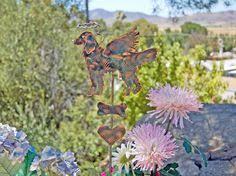 Sheet Metal Garden Art - angel metal yard art garden plant stake copper garden art
