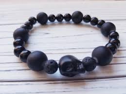 black bead bracelet men images Mens boho lava bead bracelet mens yoga bracelet black sugar jpg
