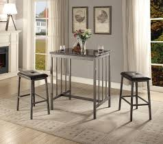 marble top bar table acme 72355 3 pc venator faux marble top and grey metal frame counter