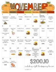 november menu free printable grocery list thanksgiving dinner