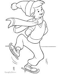 christmas scene coloring pages skating fun