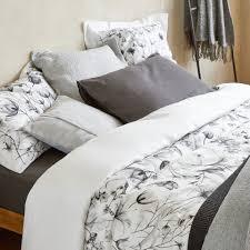 linen duvet cover with blurred print botanical autumn bedroom