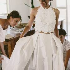two color wedding dress generous two halter pleated wedding dress with lace