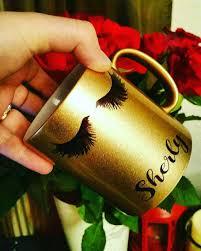 eyelashes mug in gold silver luxury eye lashes personalised