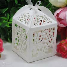 wedding favors boxes laser cut favor candy gift boxes with ribbon for wedding party