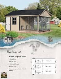 traditional 12 u0027 x 18 u0027 triple dog kennel