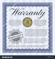 blue formal warranty certificate template linear stock vector