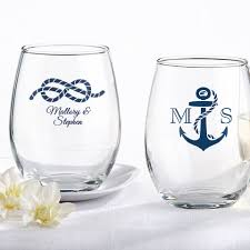 stemless wine glasses wedding favors 9 oz personalized stemless nautical wedding wine glasses