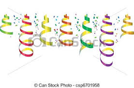 party streamers background with party streamers and confetti vector vector