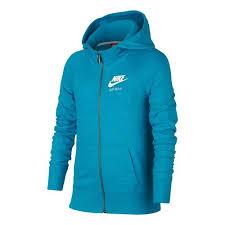 nike sportswear gym vintage full zip hoodie girls light blue