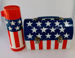 Red White Striped Flag Vintage Aladdin Stars Stripes Flag Lunchbox W Thermos Metal Red