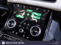 range rover dashboard detail of digital dashboard display inside new land rover velar at