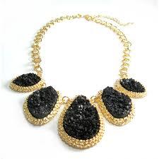 black necklace stone images Mojova druzy stone bib necklace jpg