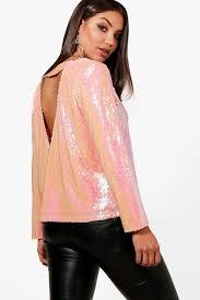open blouse nala sequin open back blouse boohoo