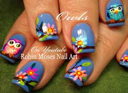 robin moses nail art spring owl nail art design tutorial