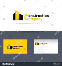 Business Card For Construction Company Vector Logo Construction Company Business Card Stock Vector