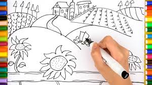 farm coloring pages draw farm house kids videos