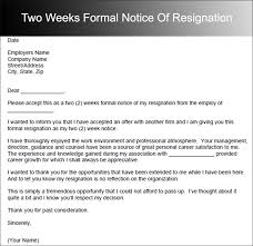 formal resignation letter with 2 weeks two weeks notice letter 31