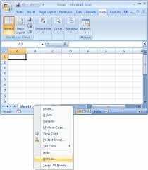 ms excel 2007 unhide a sheet
