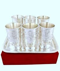 veda german silver glass set with tray at rs 1850 set home