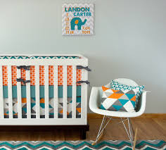 turquoise geo crib bedding elephant pattern nursery and crib