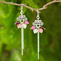 thailand earrings thai hill tribe silver earrings with garnet and quartz sweet
