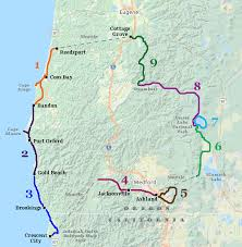 map of oregon eugene oregon coast bike tour gold to crescent city