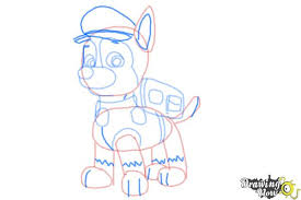 how to draw chase from paw patrol drawingnow