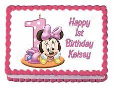 minnie mouse 1st birthday minnie mouse 1st birthday party edible cake image decoration