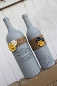 custom wedding gift wedding wine bottles yellow and gray