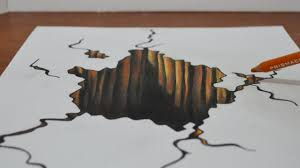 drawing a 3d hole trick art on paper