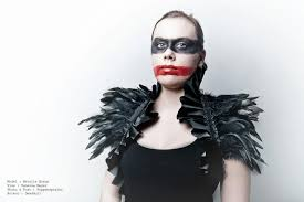 Crow Halloween Costume Victorian Feather Shrug Black Ruffles Burlesque Goth